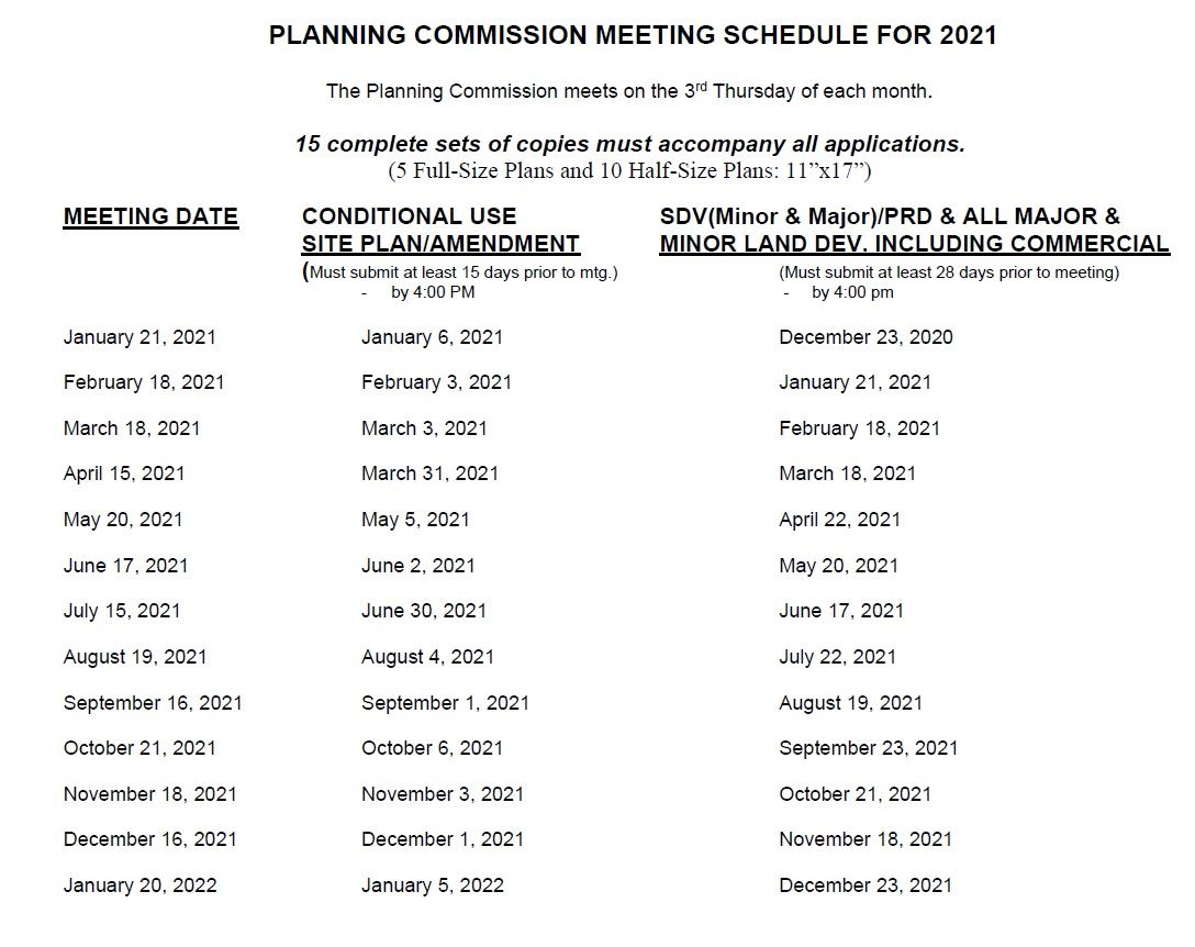 plnning commission schedule Opens in new window